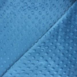 Tissu velours minkee doux relief à pois Eva - bleu houle x 10cm
