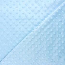 Dotted minkee velvet fabric - light blue Eva x 10cm