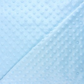 Tissu velours minkee doux relief à pois Eva - bleu clair x 10cm