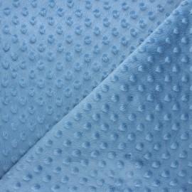 Tissu velours minkee doux relief à pois Eva - bleuet x 10cm