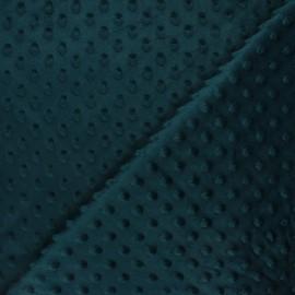 Tissu velours minkee doux relief à pois Eva - bleu paon x 10cm
