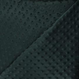 Tissu velours minkee doux relief à pois Eva - vert pin x 10cm