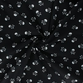 Poplin cotton fabric - black Little skully x 10cm