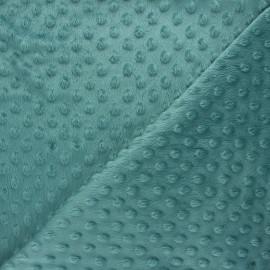 Tissu velours minkee doux relief à pois Eva - sarcelle x 10cm