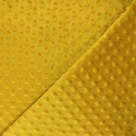 Tissu velours minkee doux relief à pois Eva - jaune moutarde x 10cm