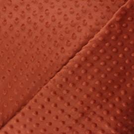 Tissu velours minkee doux relief à pois Eva - rouille x 10cm