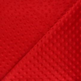 Dotted minkee velvet fabric - red Eva x 10cm