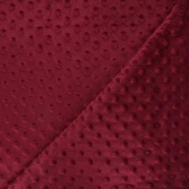 Tissu velours minkee doux relief à pois Eva - bordeaux x 10cm