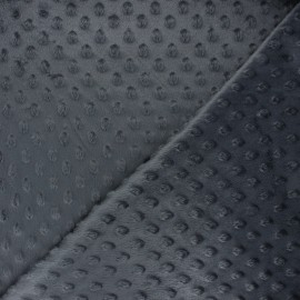 Dotted minkee velvet fabric - dark grey Eva x 10cm