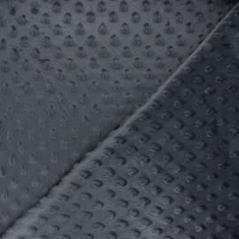Tissu velours minkee doux relief à pois Eva - gris foncé x 10cm