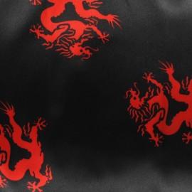 Tissu Dragon du Soleil Levant noir/rouge x 10cm