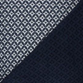 Tissu dentelle Flore - bleu nuit x 10cm