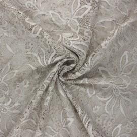 Elastane lace fabric - greige Annie x 10cm