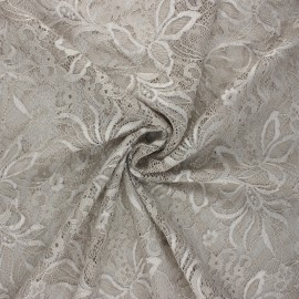 Tissu dentelle élasthanne Annie - grège x 10cm