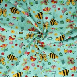 Poplin cotton fabric - mint Garden life x 10cm