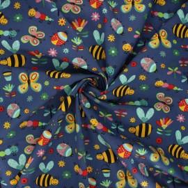Poplin cotton fabric - navy blue Garden life x 10cm