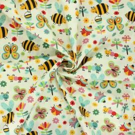 Tissu coton popeline Garden life - ivoire x 10cm