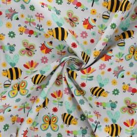 Poplin cotton fabric - grey Garden life x 10cm