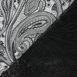 Embroidered tulle fabric - black Sabah x 10cm