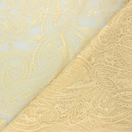 Embroidered tulle fabric - gold Sabah x 10cm