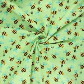 Poplin cotton fabric - lime Bee work x 10cm