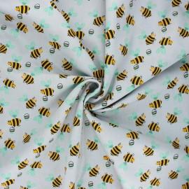 Poplin cotton fabric - grey Bee work x 10cm