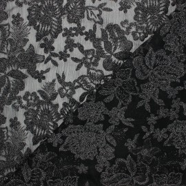 Embroidered polyester fabric - black Lyna x 10cm