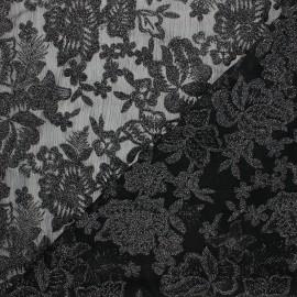 Tissu polyester brodé Lyna - noir x 10cm