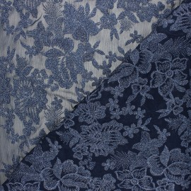 Embroidered polyester fabric - midnight blue Lyna x 10cm