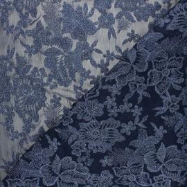 Tissu polyester brodé Lyna - bleu nuit x 10cm