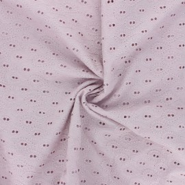 Openwork cotton voile fabric - rose water Paisley  x 10cm