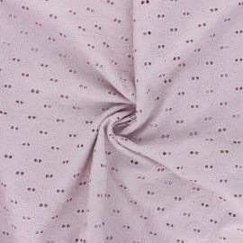 Tissu Voile de coton broderie anglaise Paisley - eau de rose x 10cm