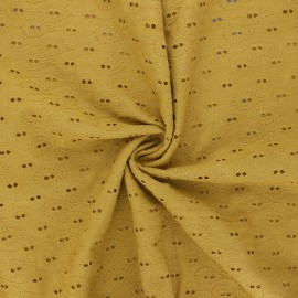 Openwork cotton voile fabric - mustard yellow Paisley  x 10cm