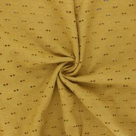 Tissu Voile de coton broderie anglaise Paisley - jaune moutarde x 10cm
