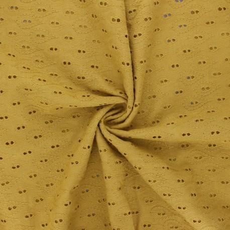 Openwork cotton voile fabric - mustard yellow Paisley  x 10cm