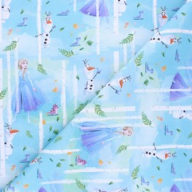 Cretonne cotton fabric - blue Frozen elsa x 10 cm