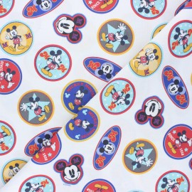 Cretonne cotton fabric - white Mickey badge x 10 cm