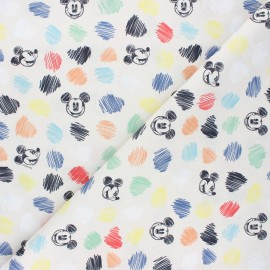 Cretonne cotton fabric - beige Mickey colors x 10 cm