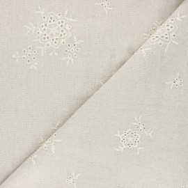Embroidered linen and viscose fabric - natural Garance x 10 cm