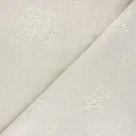 Tissu lin viscose brodé ajouré Garance - naturel x 10 cm