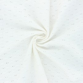 Openwork cotton voile fabric - off white Paisley  x 10cm
