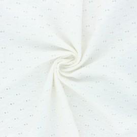 Tissu voile de coton broderie anglaise Paisley - écru x 10cm