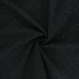 Tissu voile de coton broderie anglaise Paisley - noir x 10cm