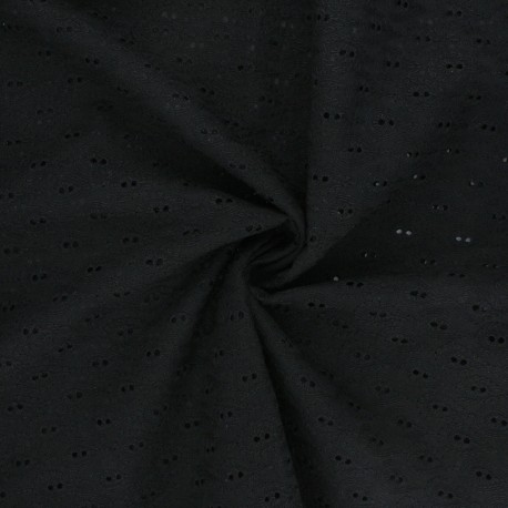 Openwork cotton voile fabric - black Paisley  x 10cm