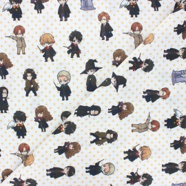 Cretonne cotton fabric - white Harry manga x 10 cm