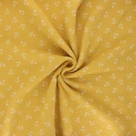 Double cotton gauze fabric - mustard yellow Ohé matelot ! x 10cm