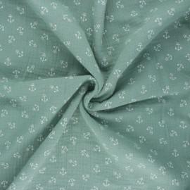 Double cotton gauze fabric - eucalyptus Ohé matelot ! x 10cm