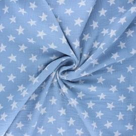 Tissu double gaze de coton Drawn star - bleu clair x 10cm
