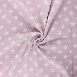 Tissu double gaze de coton Drawn star - eau de rose x 10cm