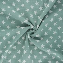 Tissu double gaze de coton Drawn star - eucalyptus x 10cm